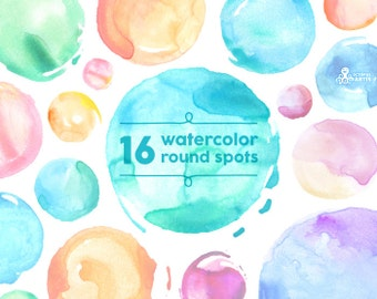 Watercolor Round Spots Soft: 16 Digital clipart. Hand painted, brush strokes, splodge, splotch, abstract watercolour, background, circle