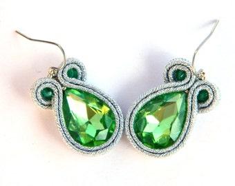 Drop crystal, crystal earrings, drop earrings, silver earrings, chic jewelry, green earrings, soutache earrings, dangle earrings