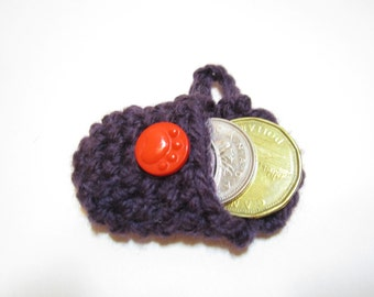 Crochet Coin Holder in Purple with Red PawPrint Button, Coin Holder, Keychain Coin Purse, Keychain Coin Holder, Cute Keychains, Mini Purse
