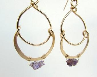 Amethyst Druzy Chandelier Earrings // Boho Chic Earrings // Jeweler's Brass // Sterling Silver