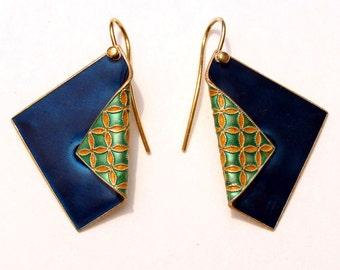Art Deco Jewelry, Blue Teal Enamel, Earrings