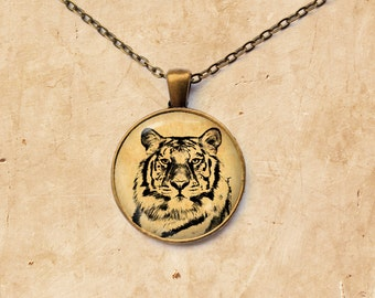 Animal pendant Vintage jewelry Tiger necklace