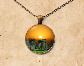 Dusk jewelry Stonehenge pendant Prehistoric necklace