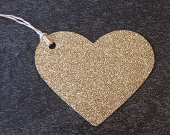 Gold Glitter Heart Gift Tags ~ Bridal Shower ~ Baby Shower ~ Wedding ~ Anniversary ~ Birthday ~ Event ~ Party ~ Decor ~ Holiday ~ Tags