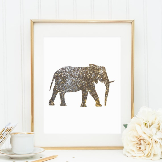 Gold Elephant Wall Decor : Gold print elephant printable wall art by