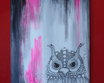 Owl stand by you, pink abstract zentangle owl art. Original painting.