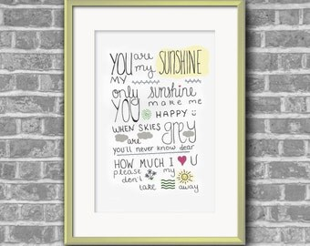 "Hand Lettered ""You are my sunshine"" Wall Art"