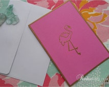 Gold Embossed Flamingo Note Cards (Set of 4)