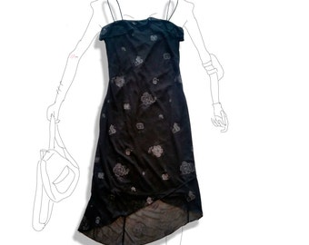 90s chiffon black ruffle sparkly flower dress