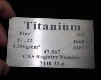 99. 5% High Purity Titanium Metal Ti Plate Carved Element Periodic Table