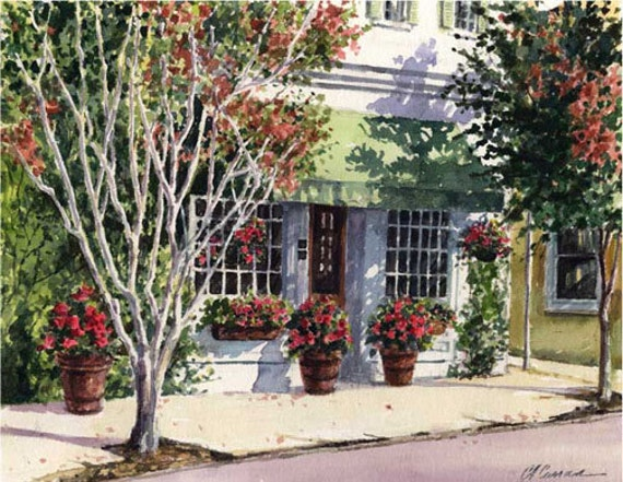 "Green Awning by Carol Ann Curran - Fine Art Print - Double Matted to 11"" x 14"" (Image Size 8"" x 10"") - Charleston, SC"