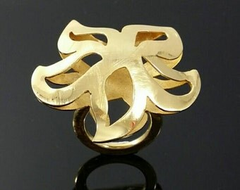 Hand made, gold flower ring //No 52,5