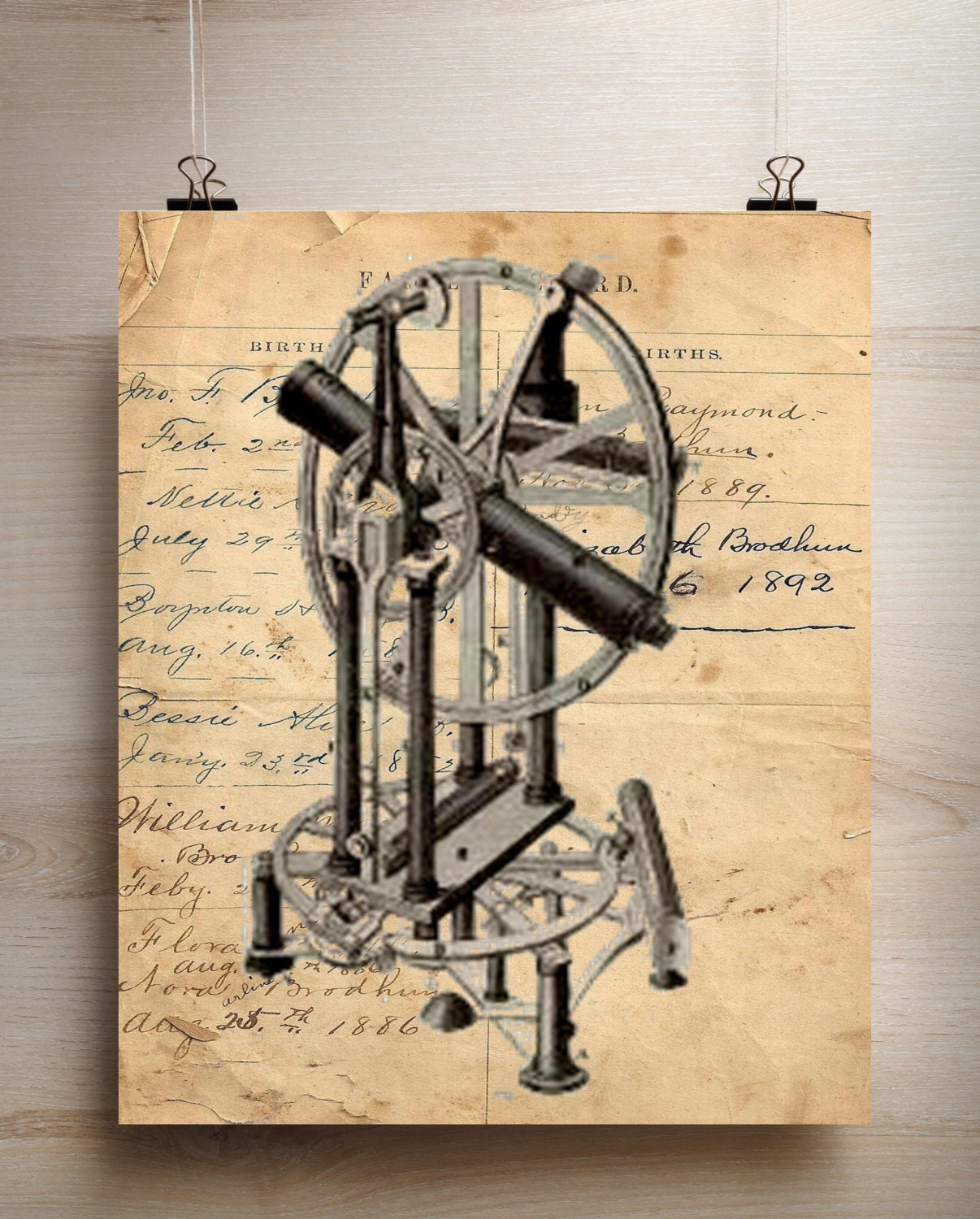 Vintage Science navigation instrument II print art print poster ...