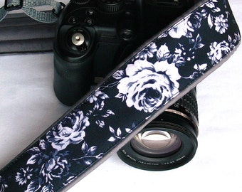 Black White Gray Camera Strap. Roses Camera Strap. Canon Nikon Camera Strap. Photo Camera Accessories