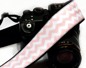 Chevron Camera Strap. DSLR SLR Camera Strap. White and Pink Camera Strap. Camera Accessories