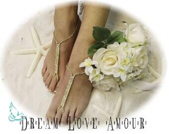 Gold Rhinestone Barefoot sandals | beach wedding sandal | bridal foot jewelry | crystal barefoot sandal -footless sandles-S1
