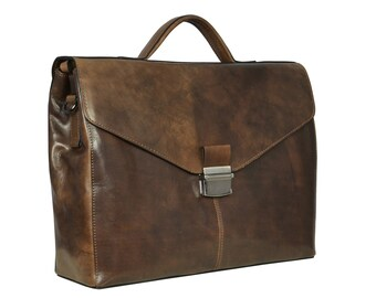 Leather Briefcase for Men, Leather Briefcase, Brown Leather Messenger bag, Business Briefcase, Attache - A Bend in the River