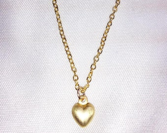 SWEETHEART Necklace - Tiny Matte Gold PUFF HEART Necklace * 24k Gold Vermeil * Delicate, Dainty * Minimal, Simple *