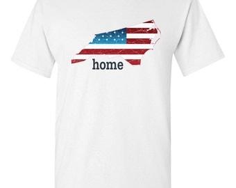 Patriotic American Flag North Carolina State Fourth of July Men's T-Shirt