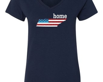 Patriotic American Flag Tennessee State Fourth of July Womens V-Neck