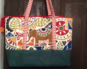 Large zippered and lined tote bag