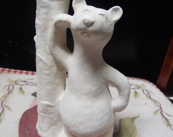Ceramic bisque ready to paint Bear with Bud Vase