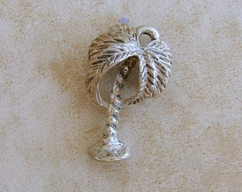 Beau Sterling Silver Tropical Palm Tree Bracelet Charm Vintage