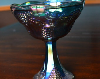 "Vintage Blue Carnival Glass Compote Pedestal Bowl Harvest Grape Indiana Glass Co. (7.5"")"