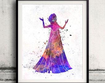 Elsa The Snow Queen-Frozen - 8x10 in. to 12x16 in. Fine Art Print Glicee Disney Poster Watercolor Children's Art Illustration-SKU 1052