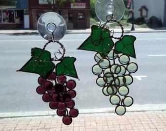 Grape Stained Glass Suncatcher