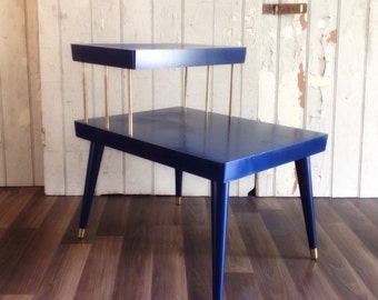 SOLD - Retro Refinished Brass Tipped Accent / Side Table