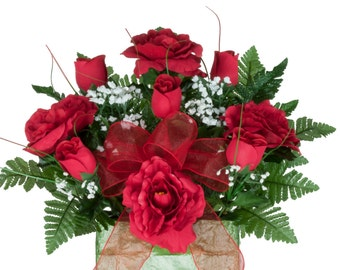 Red Roses Monument Brick Flower Arrangment (BR1648)