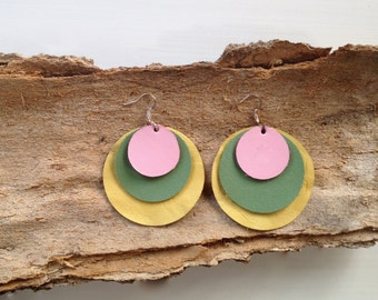 Leather Earrings - Colorful layered circles