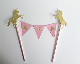 Girls Birthday Bunting Personalised Cake Topper Pink and gold Unicorn