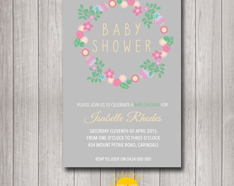 Printable Custom Baby Shower Invitation Floral Wreath Neutral JPG file