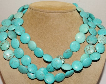 Sterling Coin Turquoise 225g Vintage Necklace.