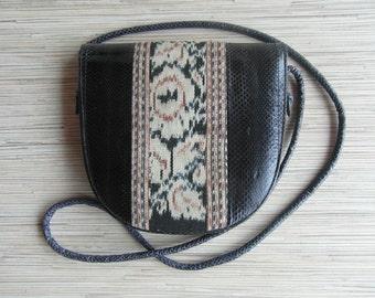 Vintage Snake Skin Bag Vintage Tribal Snake Skin Bag Small Snake Skin Bag Cross Body Leather Handbag
