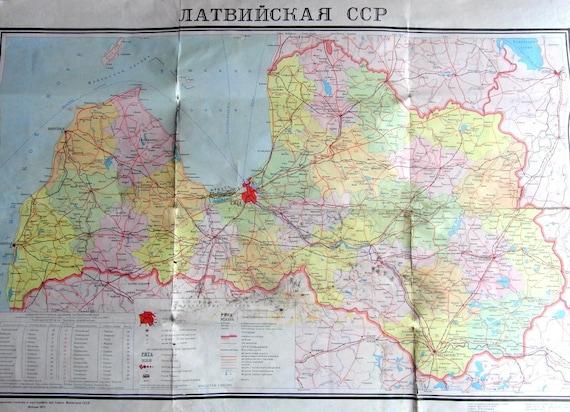 Vintage Map Soviet Vintage Political Map of Latvian Soviet Socialist