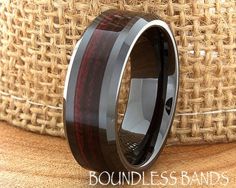 Ceramic Wedding Ring Wood Mens Wedding Band Black Ceramic Band Wood Inlay Band His Classic New Design Fashion Anniversary Modern 8mm Mens