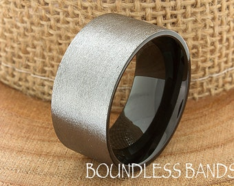 Two Tone Wedding Band Ring Tungsten Carbide 12mm Tungsten Brushed Ring Man Wedding Band Male Women Custom Black Enameled Anniversary Mens