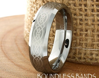 Celtic Knot Tungsten Wedding Ring Mens Customized Laser Engraved Band Mans Women Anniversary Ring New Design Classic Modern His Hers New 6mm