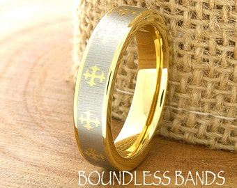 Gold Tungsten Cross Wedding Band Flat Plain High Polished Two Tone Tungsten Ring Laser Engraved Ring For Her Mens Womens His Hers Unisex 5mm
