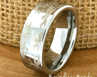 Camouflage Wedding Band Flat High Polished Customized Tungsten Band Any Design Laser Engraved Ring Mens Tungsten Ring Modern New Woman Rings
