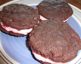 Homemade Cherry Filled Chocolate Sandwich Cookies (2 Dozen)