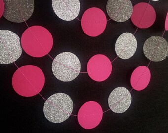 GLITTERBUG BRIGHT PINK Paper Circle Garland - Party, Wedding, Shower, Room Decoration.