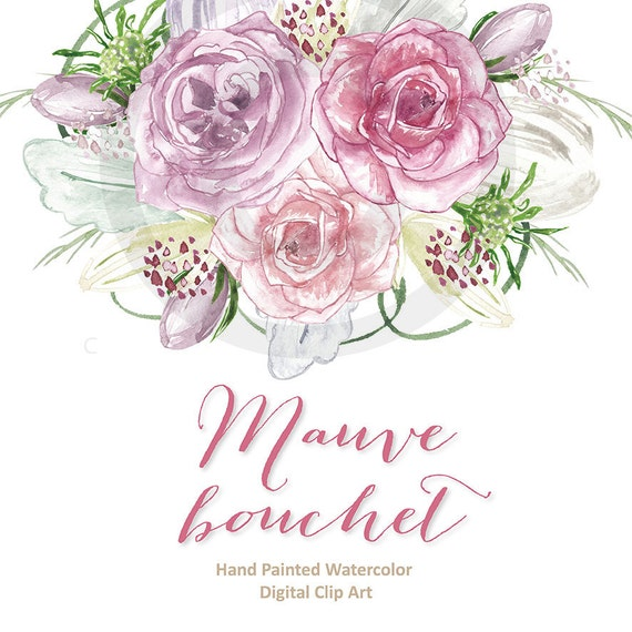 watercolor rose mauve clipart spring flower clipart pink