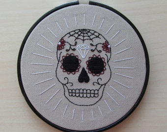 Sugar Skull embroidered hoop art decoration