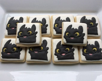 How To Train Your Dragon Toothless Sugar Cookies  ~ 1 dozen  ~ Birthday ~ Party Favors ~