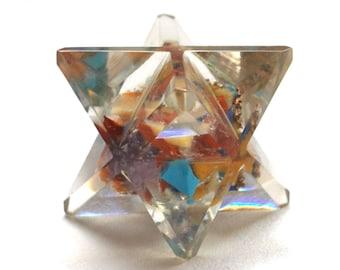 Crystal Chakra Orgone Merkaba Star Gift with 7 Crystal Types
