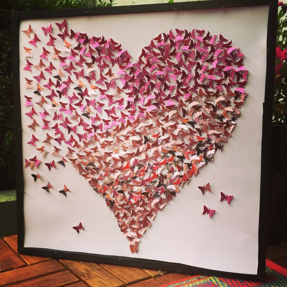 3d Butterfly Wall Art Butterfly Heart Butterfly Canvas Paper